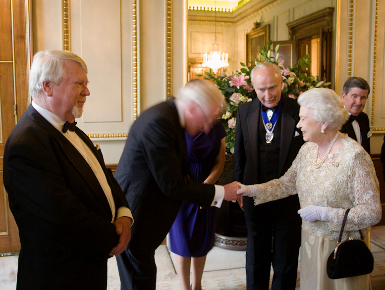 (John awaits presentation to Her Majesty The Queen at HRH Prince Philip's 90th Birthday Dinner, Fishmongers' Hall, June 2011